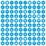 100 offence icons set blue. 100 offence icons set in blue hexagon isolated vector illustration royalty free illustration