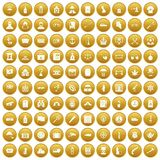 100 offence icons set gold. 100 offence icons set in gold circle isolated on white vector illustration Vector Illustration