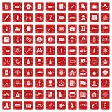 100 offence icons set grunge red. 100 offence icons set in grunge style red color isolated on white background vector illustration Stock Photos
