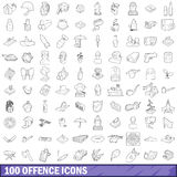 100 offence icons set, outline style. 100 offence icons set in outline style for any design vector illustration stock illustration