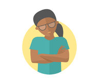 Offended black girl in glasses. Insult emotion. Flat design sign. Abused woman. Simply editable isolated on white vector illustrat. Ion Stock Photography