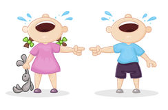 Offended boy and girl. Vector illustration Royalty Free Stock Photo
