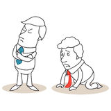 Offended businessman, desperate businessman. Vector illustration of monochrome cartoon characters: Offended businessman turning his back on desperate businessman Royalty Free Stock Image