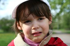 Offended and crying little girl Stock Photography