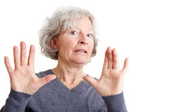 Offended elderly woman rejecting Royalty Free Stock Photography