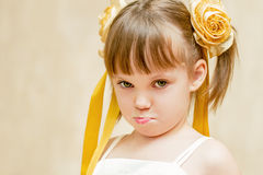 The offended girl. With pouting lips Royalty Free Stock Image