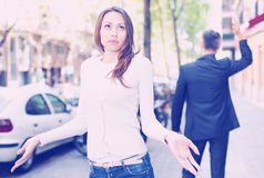 Offended girl after quarrel with boyfriend Royalty Free Stock Photography