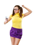 Offended girl-teenager with phone Royalty Free Stock Photos