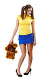 Offended girl-teenager with teddy bear Stock Photos
