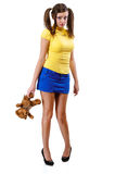Offended girl-teenager with teddy bear Royalty Free Stock Images