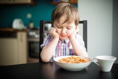 Offended boy at dinner Royalty Free Stock Images