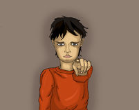 Offended little boy points a finger at you. Child points his. Finger at the camera. Drawn  on dark grey background. Pop art style Stock Photography