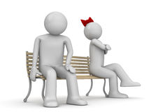 Offended man and woman on a bench Stock Photo