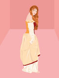 Offended princess. Vector illustration of princess in pink room Royalty Free Stock Photos