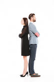 Offended serious loving couple standing isolated Royalty Free Stock Photos