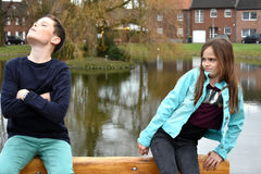 Offended  siblings Stock Photo