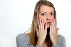 Offended woman. Can't quite believe it Royalty Free Stock Photography