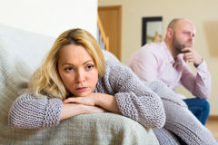 Offended woman after couple conflict Stock Images