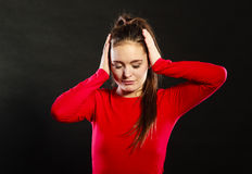 Offended woman not listening covering ears. Stock Photos
