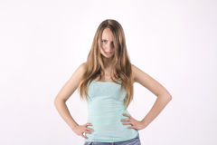 Offended young woman. Beautiful offended young blonde woman Royalty Free Stock Image