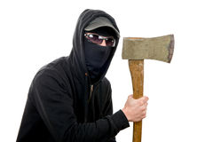 An offender attack with ax. On the white background stock images