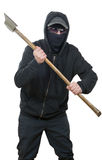 An offender attack with ax. On the white background stock image