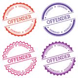 Offender badge isolated on white background. Flat style round label with text. Circular emblem vector illustration Stock Photo