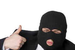 The offender shows the gesture perfectly. On a white background stock photo