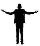 Offene Arme des asiatischen Geschäftsmannes glauben frei Stockbild