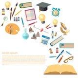 Offene Bücher und Ikonen der Bildungskonzeptenergie des Wissens lizenzfreie abbildung