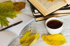 Offene Bücher und ein Notizbuch mit einem Stift und eine Tasse Tee auf einem Weiß Lizenzfreie Stockbilder