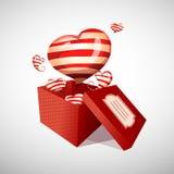 Offene Geschenkbox und Fluss des glücklichen Valentinstags Stockbild