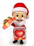 Offene Geschenkboxen Weihnachtsmann-Holding Stockbild