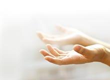 Offene leere Hände des Menschen mit hellem Hintergrund Stockfoto