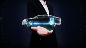 Offene Palme der Geschäftsfrau, elektronisch, Wasserstoff, Lithium-Ionen-Batterie-Echoauto Aufladungsautobatterie Seitenansicht d stock abbildung