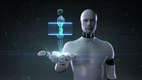 Offene Palme Roboter Cyborg, scannendes menschliches Skelettsystem innerhalb des Roboters Biotechnologie Künstliche Intelligenz R