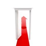 Offene Tür und Pfeil Stockfoto