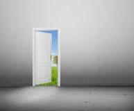 Offene Tür zu einer neuen Welt, die grüne Sommerlandschaft. Begrifflich Lizenzfreie Stockfotos