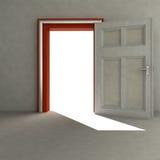 Offene Tür, zum des Platzes mit rotem Feld zu leeren lizenzfreie abbildung