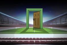 Offene Tür zur Welt des Fußballs im Mittelfeld des Stadions stock abbildung