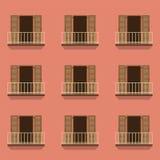 Offene Türen mit Balkon-Weinlese-Art Lizenzfreie Stockfotografie