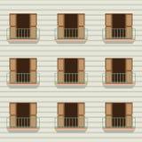 Offene Türen mit Balkon-Weinlese-Art Lizenzfreies Stockfoto