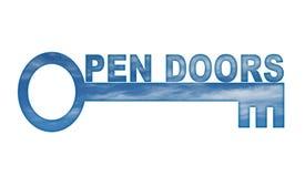 Offene Türen Stockfoto
