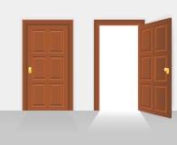 Offene und geschlossene Hausfassadetür-Vektorillustration stock abbildung