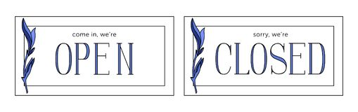 Offene und geschlossene Plattenvorratvektoren Minimalistic-Art lizenzfreie abbildung