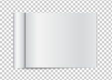 Offene Zeitschrift des realistischen freien Raumes mit gerollten Weißbuchseiten auf t stock abbildung