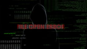 Offener Fehler der Datei, erfolgloser zerhackender Versuch auf Server, Verbrecher erhält wütend stock footage