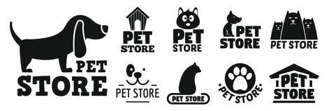 Offener Haustierspeicher-Logosatz, einfache Art stock abbildung