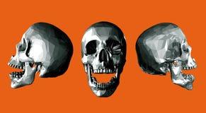Offener Kiefer des einfarbigen niedrigen Polyschädels auf orange Hintergrund Stockfotos