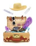 Offener Koffer der Reise Stockbild